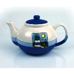 Teiera in ceramica blu - Faro - 800 ml
